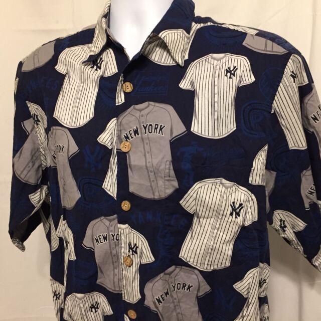 6288180d Reyn Spooner New York Yankees Mens Hawaiian Shirt Sz Large Cotton MLB Flawed