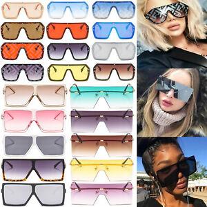 UV400 Women//Men Oversized Square Letter Sunglasses Mirror Coating Shades Fashion