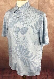 CUBAVERA-Hawaii-Blumenmuster-Kurzarm-Knopfleiste-100-Rayon-Blau-Shirt-Herren-L