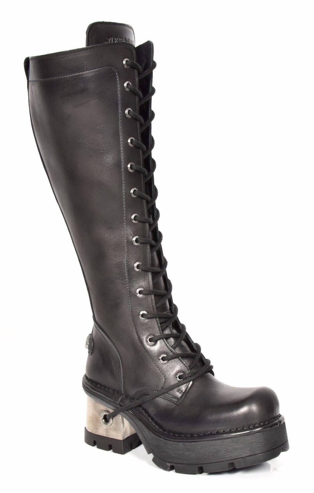 Nuevas DAMAS DE ROCK A La La La Rodilla Cuero botas Con Cordones Plataforma Tacones Negro ac085c