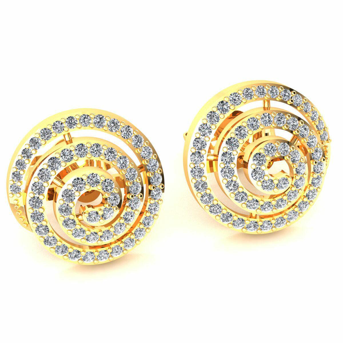 0.6ct Round Cut Not Enhanced Diamond Ladies Swirl Studs Earrings 10K gold
