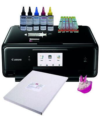 edible ink /& Icing Sheets Edible Printer Bundle Refillable Cartridges TS5050