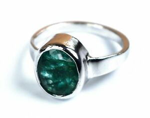 Natural-Oval-Emerald-Gemstone-925-Unisex-Sterling-Silver-Ring-Best-Offer