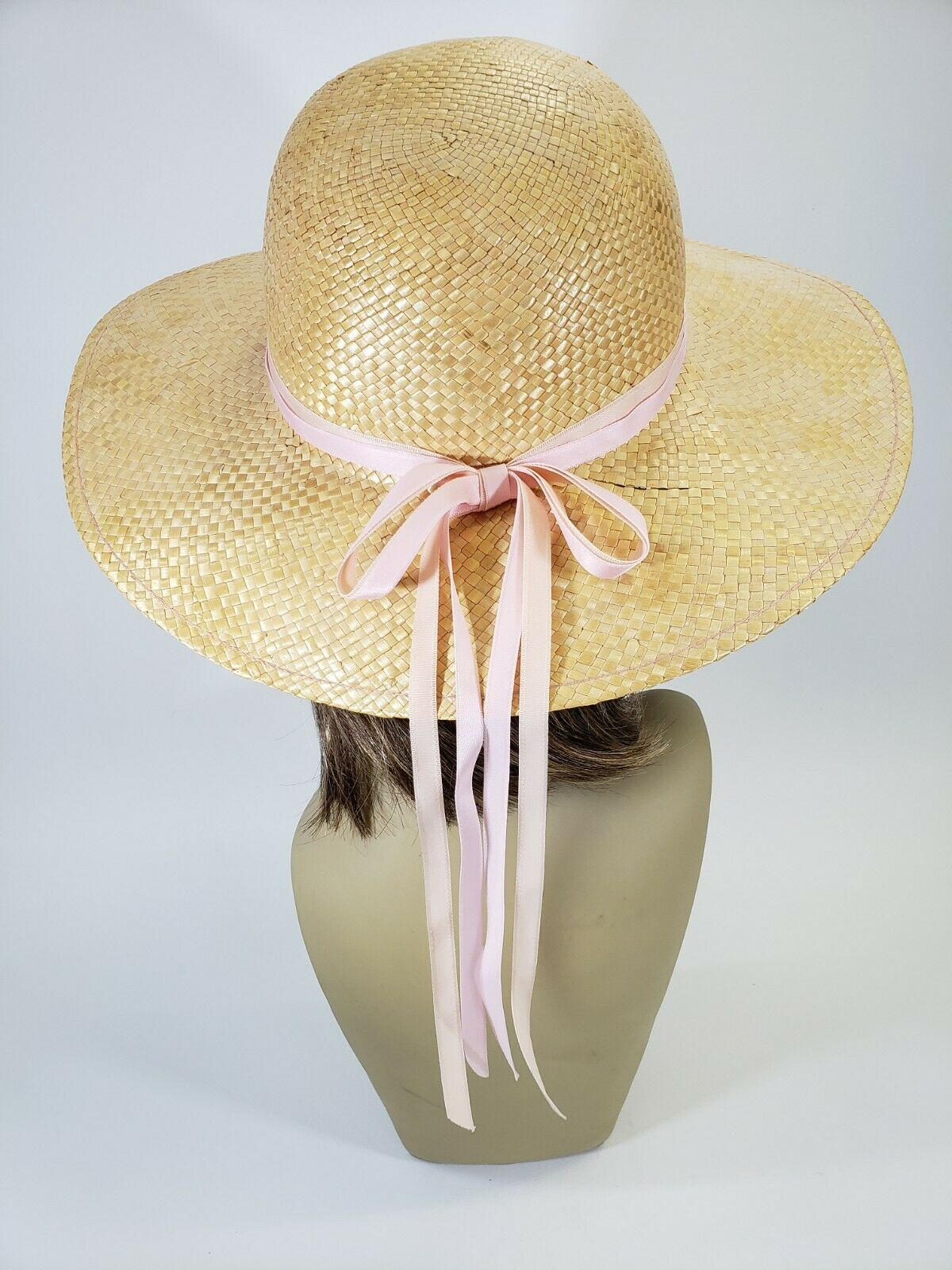 Vintage Woven Straw Sunhat with Pink Ribbon Bow on Back 1970s