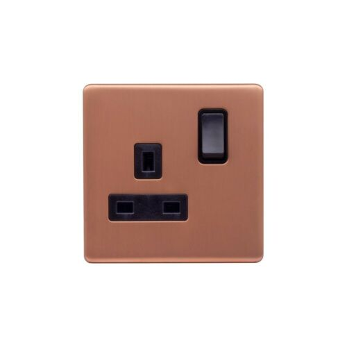 Black Insert ... Double Pole Lieber Brushed Copper 13A 1 Gang Switched Socket