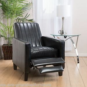 living room furniture black bonded leather channel recliner chair