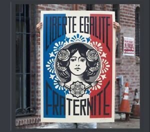 Shepard Fairey Liberte Egalite Fraternite Print Poster Obey Giant 24 X 36 Signed