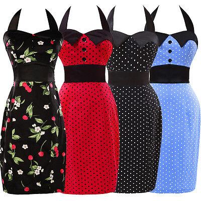 Womens Vintage Halter Polka dot Swing 50's Housewife pinup Jive Dress