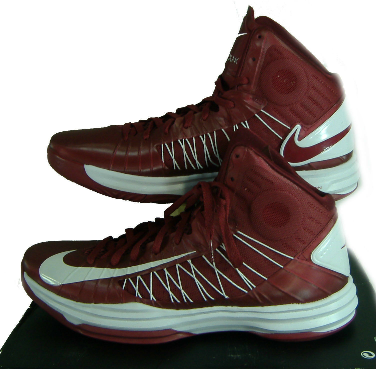 New Mens 16.5 NIKE Hyperdunk TB Maroon White High Hi Top Shoes $125 524882-600