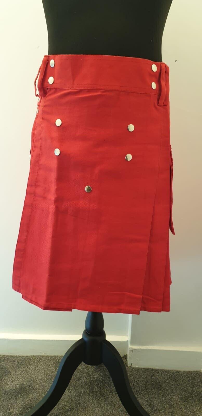 Men's Brand New Red Cotton Utility Kilt 34 Size, Good Quality 100% Cotton