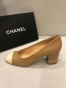 2eb00c4852b9 CHANEL 16B Leather Patent Cap Toe Block Heel Pumps Shoes Beige White ...