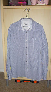 MENS-FCUK-GREY-AND-WHITE-CHECKED-LONG-SLEEVED-SHIRT-SIZE-L