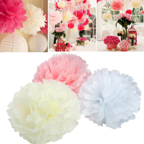 10er Set Seidenpapier PomPoms Hochzeit Party Deko weiß rosa crème 25cm 30cm