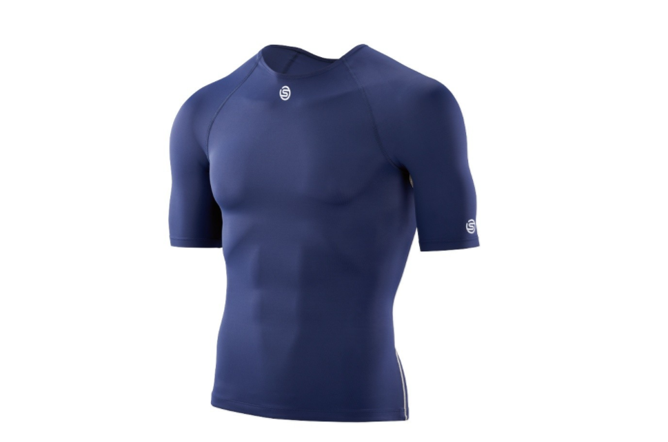 AUTHENTIC Skins DNAmic Team  Herren Compression Short Sleeve Top (NAVY Blau)