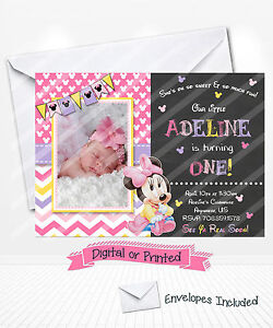 Image Is Loading PRINTED Baby Minnie Mouse 1st Birthday Invitations Pink
