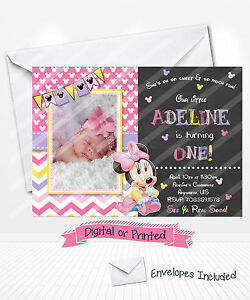 Printed baby minnie mouse 1st birthday invitations pink minnie party image is loading printed baby minnie mouse 1st birthday invitations pink filmwisefo