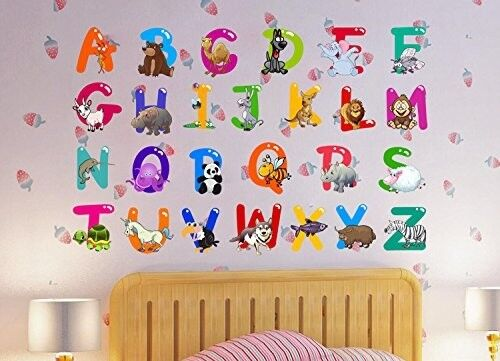 Alphabet Letters Wall Decals Animal Baby Kids Decorative Peel Stick Art Stickers