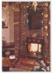 Photo-Card-Years-60-70-Fireplace-Fuoco-Atmospheric-Christmas-Decorations