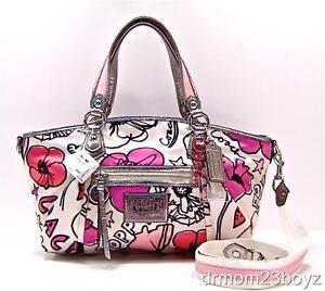 c6c5e9a8e New NWT Coach Poppy Signature Petal Floral Pink Rocker Shoulder Purse 16308  | eBay