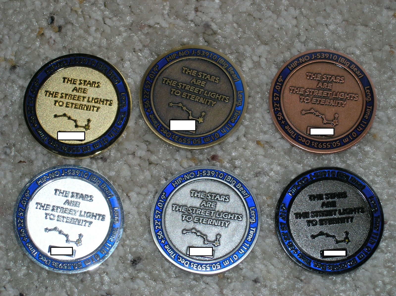 COMPLETE set of of of SIX geocoins  Stars, 2009, Big Dipper / Bear  Ultra Rare 8517d5