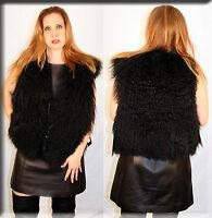 Black Tibetan Lamb Fur Vest Size Medium 6 8 Efurs4less