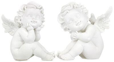 Figur Engel sitzend romantisch Deko Skulptur detailliert filigran