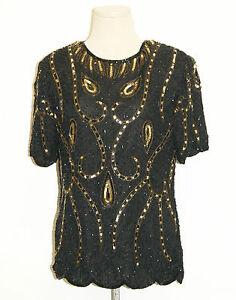 f4e596a95ec3f Details about 80 s 90 s Vintage Silk Bead Sequin Top Blouse by Royal  Feelings- Size Medium
