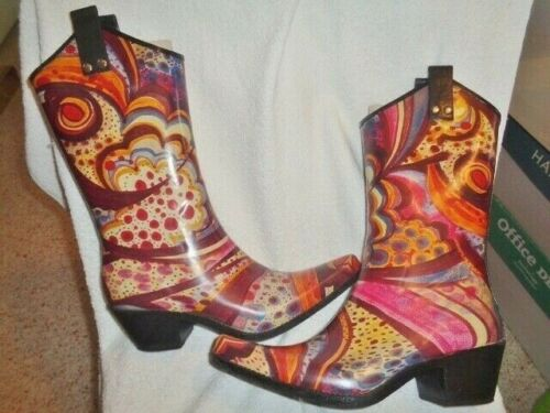 Rain Boots sz 8 Nomad Woman's Yippy Colorful Rubbe