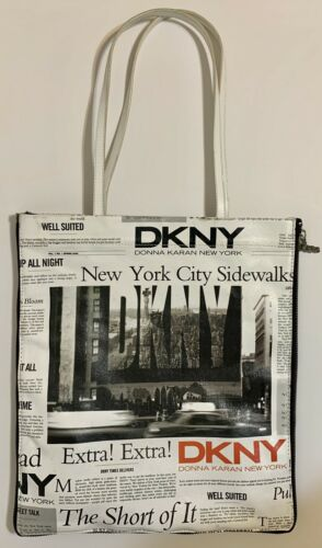 DKNY New York Newspaper Print with Zipper Tote Bag