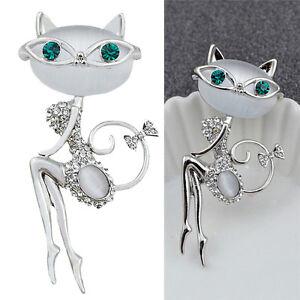 Moda-Broche-de-cristal-Diamantes-de-imitacion-opal-Pequeno-Gato-Animal-Joyeria
