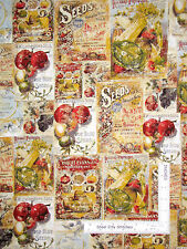Seed Packet Fabric - Vegetable Fruit Garden Vintage Seed Packs Clothworks - Yard