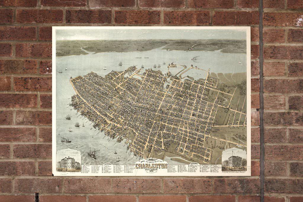 Charleston SC Vintage Print Poster 1872 Birds Eye View
