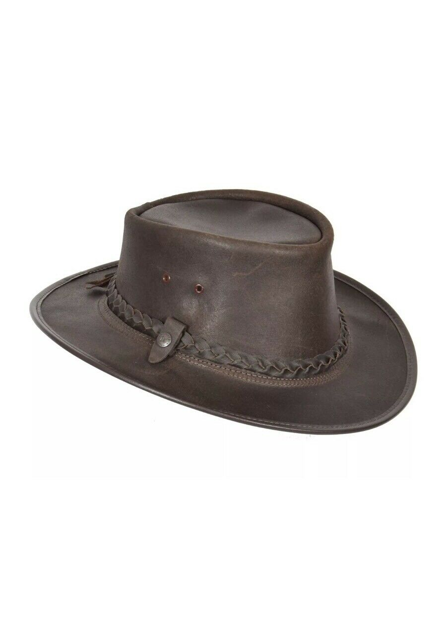 LARGE CONNER HANDMADE BC HATS BAC  PAC TRAVELLER OILY AUSTRALIAN LEATHER BROWN  sale with high discount