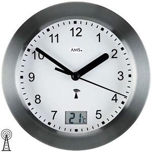 Ams 5925 Horloge Murale pour Salle de Bain Radio-Piloté Anthracite ...