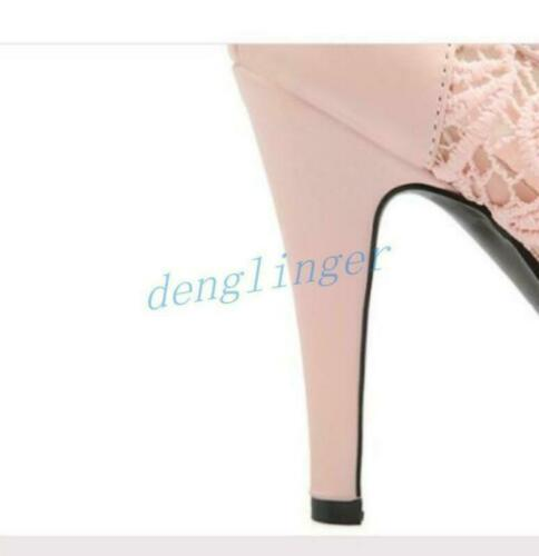 Womens Shoes Round Toe Ankle Boots Lace Up Platform Stilettos High Heel Shoes sz