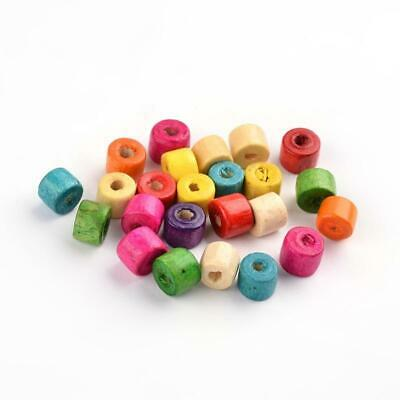 Pcs Art Hobby Jewellery Making Crafts Wood Plain Tube Beads 6 x 7mm Mixed 250
