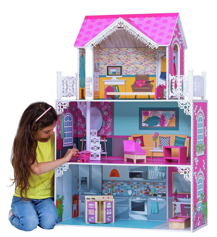 Girls Rosa Barbie Doll Mansion House Princess Wooden Wooden Wooden Furniture Play Set Dolls 25b40b