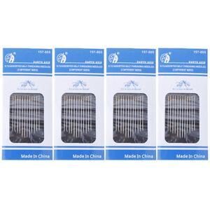 12-48PCS-Self-threading-Needles-Pack-Assorted-Sizes-Thread-Sewing-StitchingQ6Q
