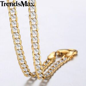 Silver-Gold-Filled-Chain-Women-Men-Necklace-Hammer-Curb-Cuban-Link-4mm-22-36-034