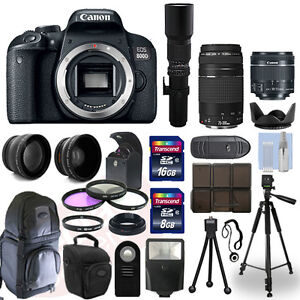 Details about Canon EOS 800D DSLR Camera + 5 Lens Kit: 18-55mm STM +  75-300mm + 500mm and More