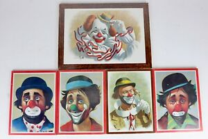 Lot-5-NOS-Arthur-Sarnoff-Clown-Print-Soroka-Pgh-Decorator-Wall-Hanging-Plaques