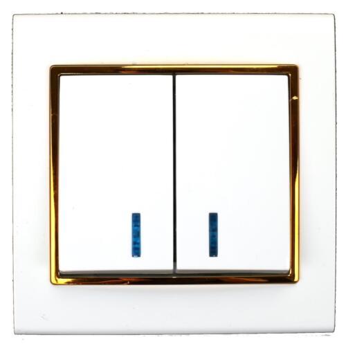 Lichtschalter Serienschalter Dimmer Steckdose farbe weiß//gold