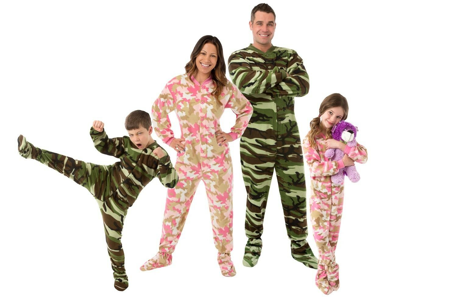 Big Feet Pjs - Grün Camo Fleece Footed Pajamas - Adult, Kids & Infant