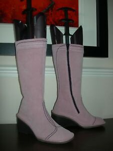 Boots 37 Fly Calf Pink Eu Women's Length London Uk Wedges Suede Leather 4 EgqUv