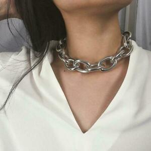 Damen-Frauen-Gold-Silber-Chunky-Punk-Kette-Halskette-Armband-Choker-fuer-Fra-X9H9