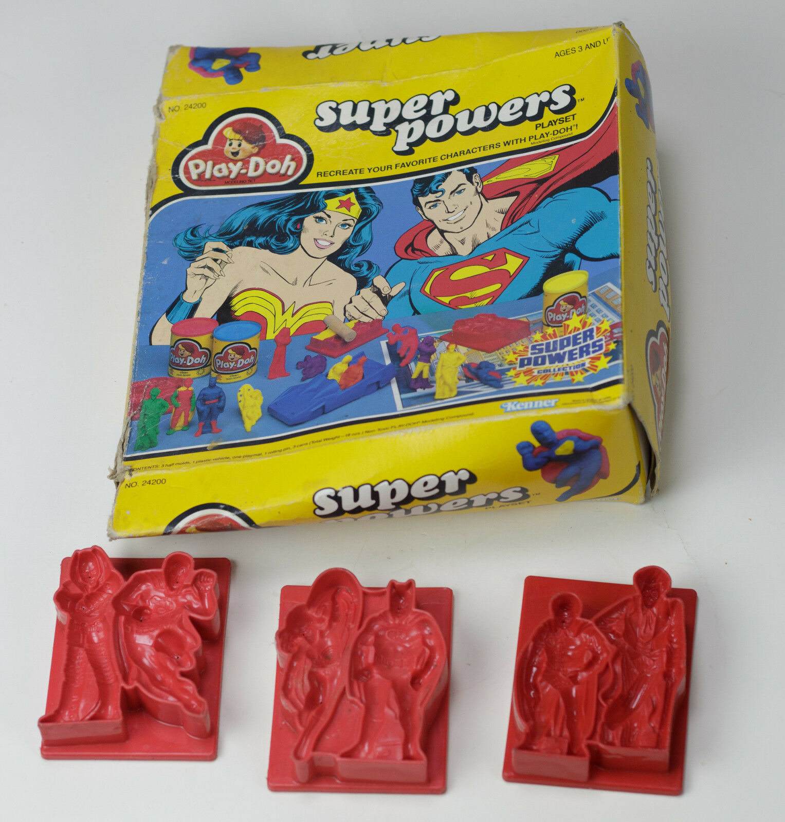 Super Powers Play-doh Molds 1984  Batman, Superman, Wonder Woman, Lex Luther Box
