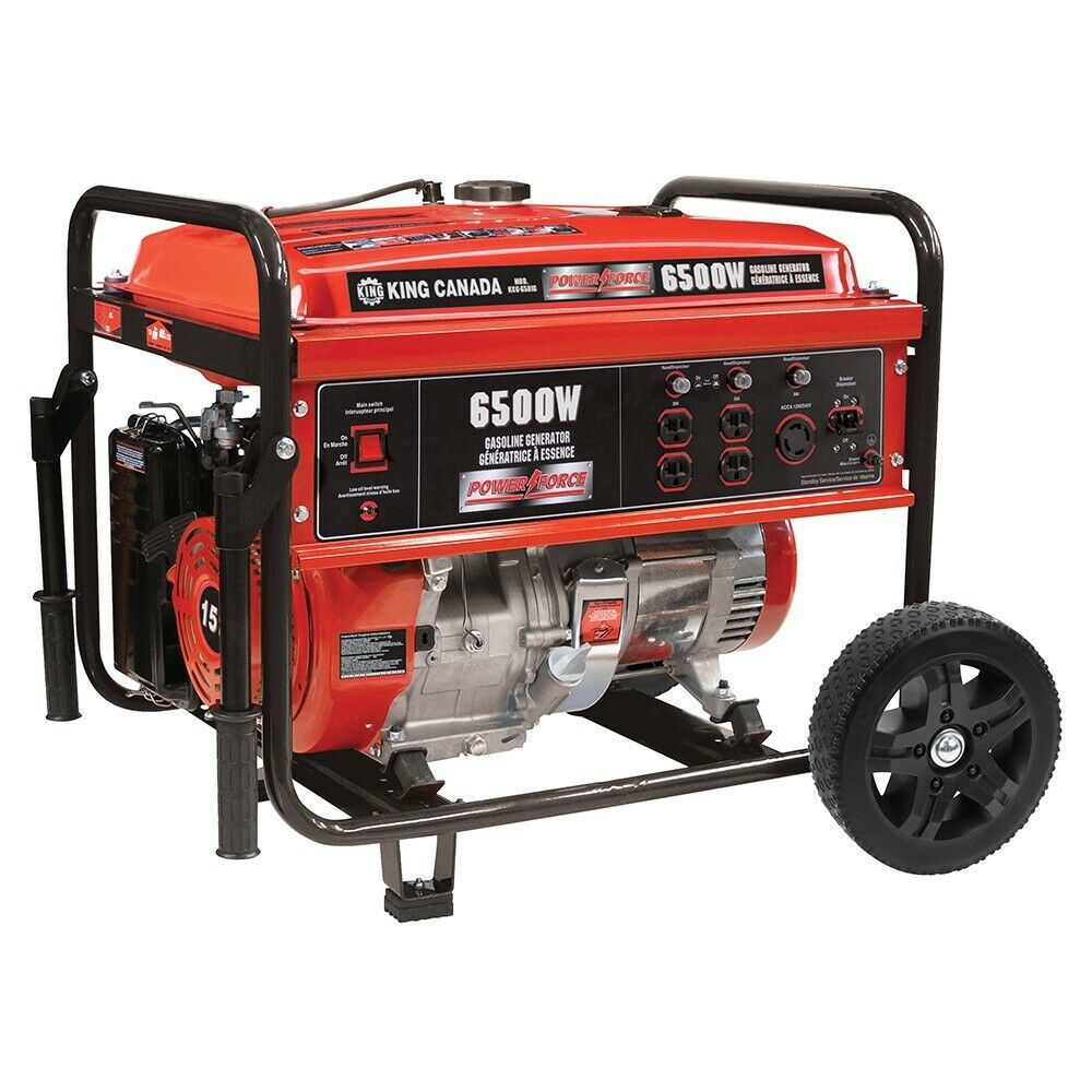 King Tools KCG-6501G 6500W GASOLINE GENERATOR WITH WHEEL KIT GÉNÉRATRICE ESSENCE
