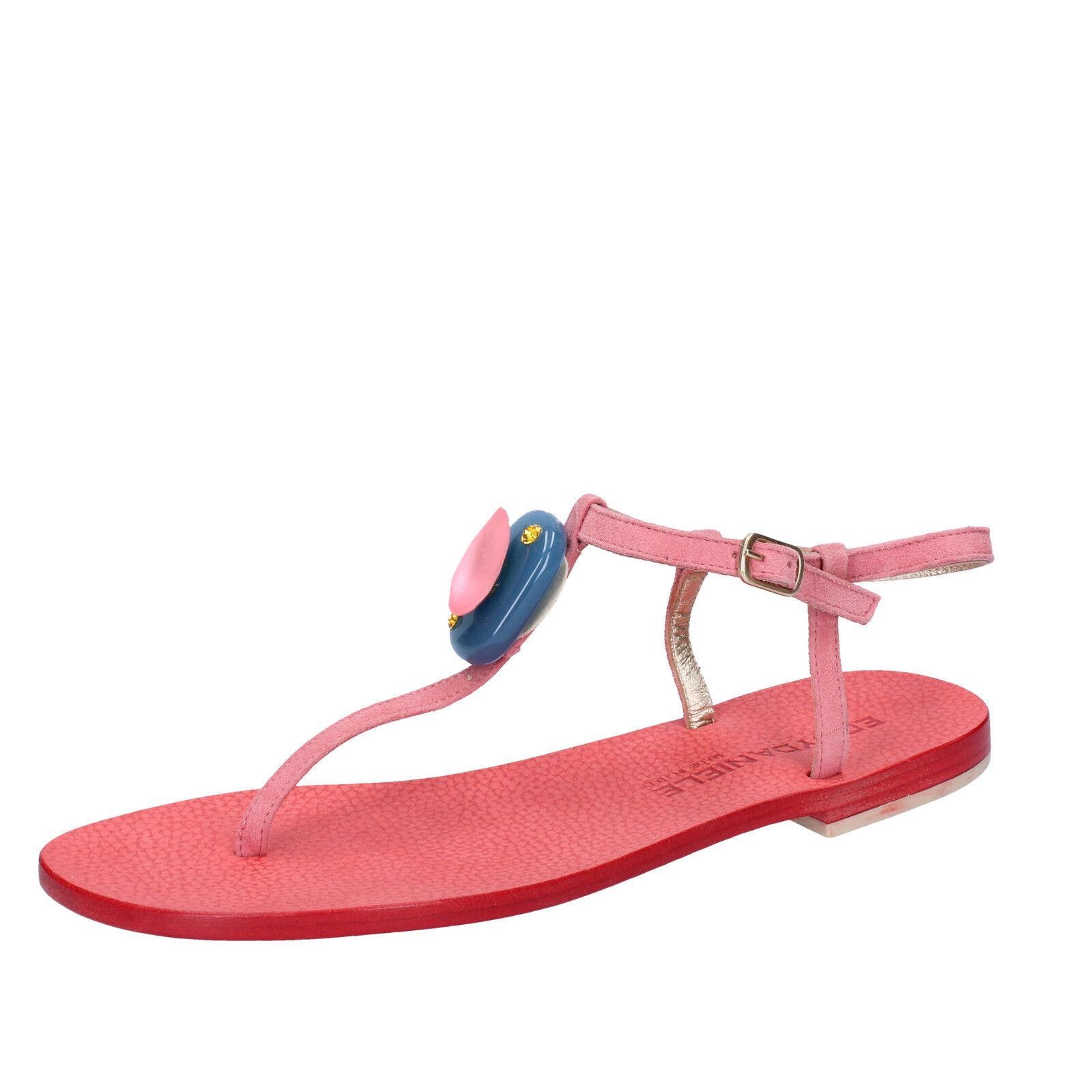 scarpe sandali donna EDDY DANIELE 37 EU sandali scarpe rosa camoscio swarovski AX988 bf19c3