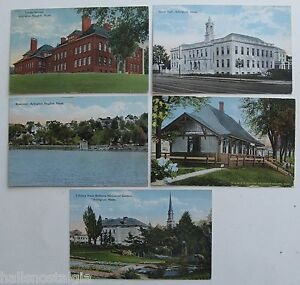 Arlington, Ma. 5 Postcards 1914-1924 RAILROAD STATION HEIGHTS, LOCKE SCHOOL etc