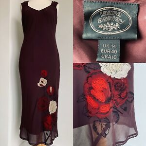 Laura-Ashley-Silk-Floral-Maxi-Dress-Vintage-Burgundy-Special-Occasion-Size-14